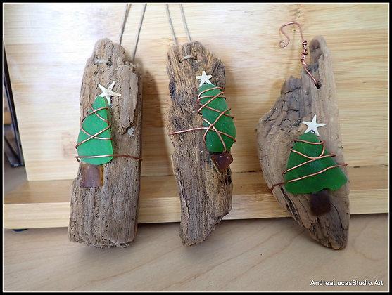 Driftwood Seaglass Ornament (set of 3)