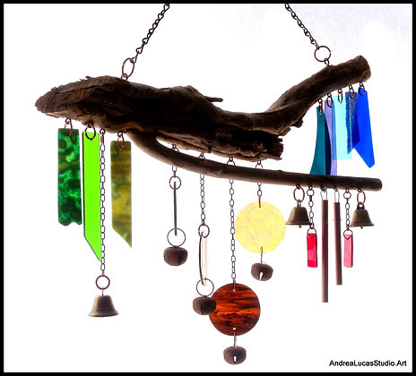 #2 Large Stained Glass/Driftwood Chimes