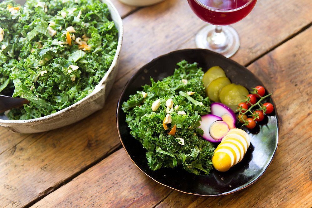 Kale salad and eggs