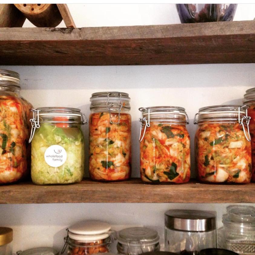 Kimchi on shelf