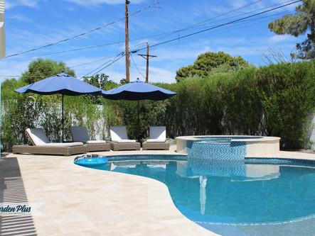 Travertine decking, pool remodel