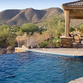 Infinity Pool using national pool tile products, facing arizona desert