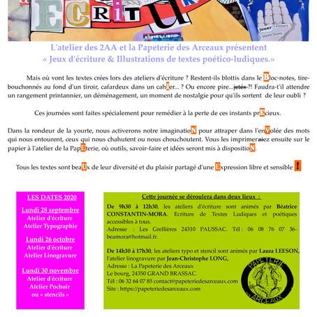 3 journées de créations artisanales et artistiques réunissant l'Écriture et l'Impression des textes