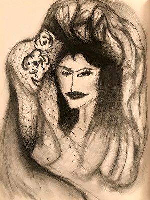 Charcoal drawing woman with petal headdress