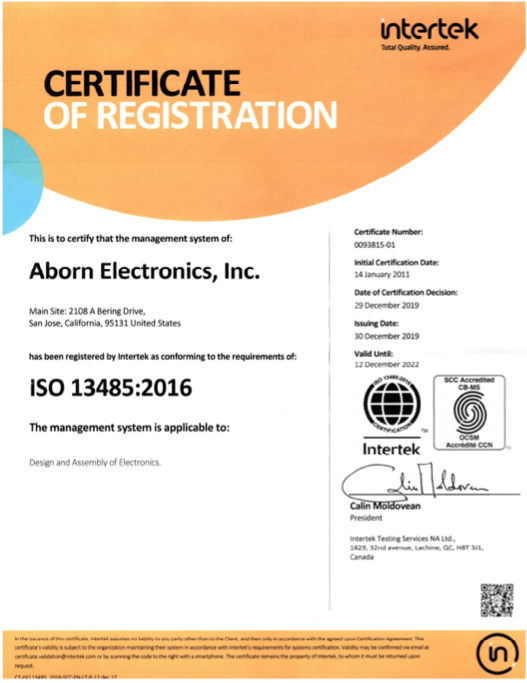 ISO 13485:2016 Certified