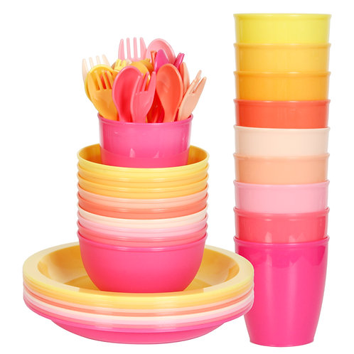 Youngever 54 pcs Plastic Kids Dinnerware Set of 9 in 9 Peach Colors