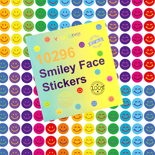 Youngever 10296 pcs Happy Smile Face Stickers, Smiley Face Stickers, 12 Colors