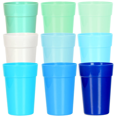 Youngever 12 Ounce Kids Cups, 18 Pack Kids Plastic Cups in 9 Coastal Colors