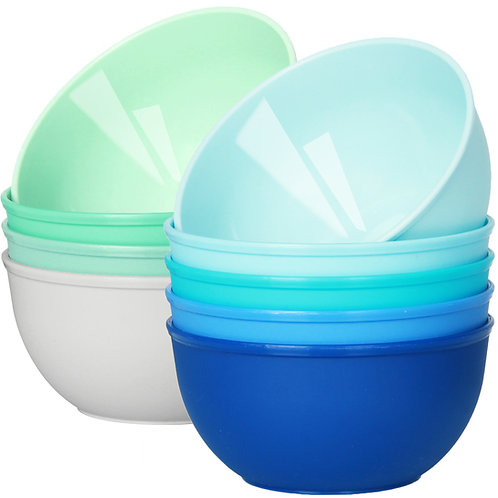 Youngever 10 Ounce Plastic Bowls Coastal Color