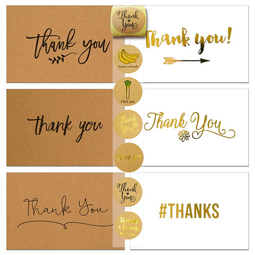 72 Thank You Cards and Envelopes and Sealer Sticker Assortment, Kraft and White