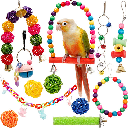 Youngever 12 Packs Bird Swing Toy, Parrot Toys Hanging Bell, Bird Cage Toys