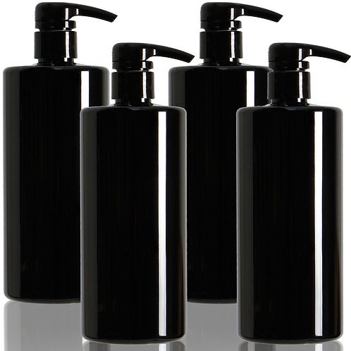 Youngever 4 Pack Black Pump Bottles for Shampoo 24 Ounce, Shampoo Pump Bottles