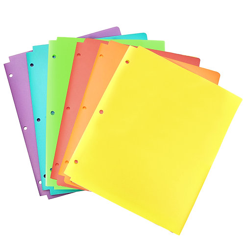 Youngever 6 Pack Heavy Duty Plastic Two Pocket Folders, Binder Folders