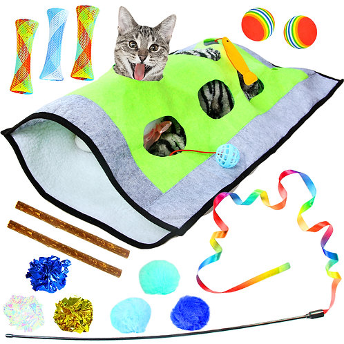 Youngever 15 Cat Toys Kitten Toys Assortments, Cat Play Mat,
