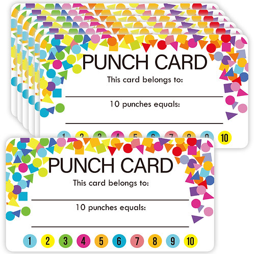 Youngever Punch Cards 180 Pack, Incentive Loyalty Reward Card for Classroom