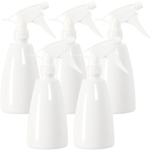 Youngever 5 Pack 16 Ounce Empty Plastic Spray Bottles, White Spray Bottles
