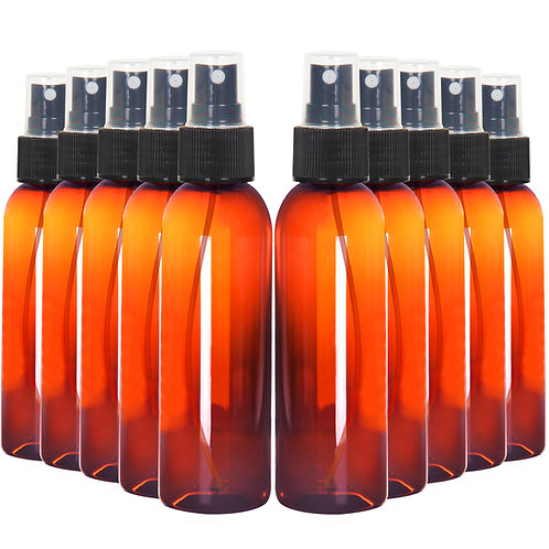 Youngever 10 Pack Amber Plastic Spray Bottles 4 Ounce, Refillable Plastic Spray