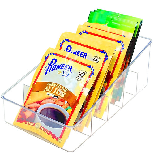 Youngever Clear Plastic Food Packet Storage Organizer, 5 Divided Sections