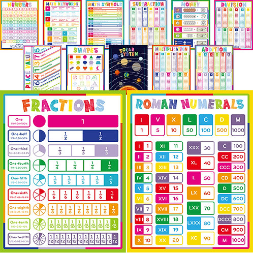 Youngever 13 Pack Laminated Educational Math Posters for Kids, 22*17 inch