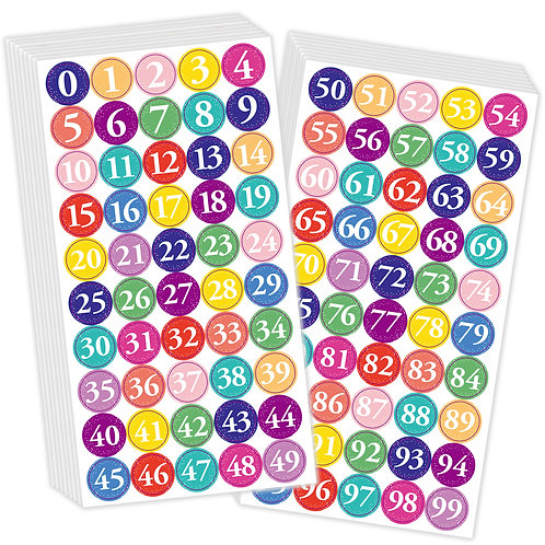 Youngever 1800 Pcs 0-99 Numbers Stickers for Office, Classroom, Assorted Color