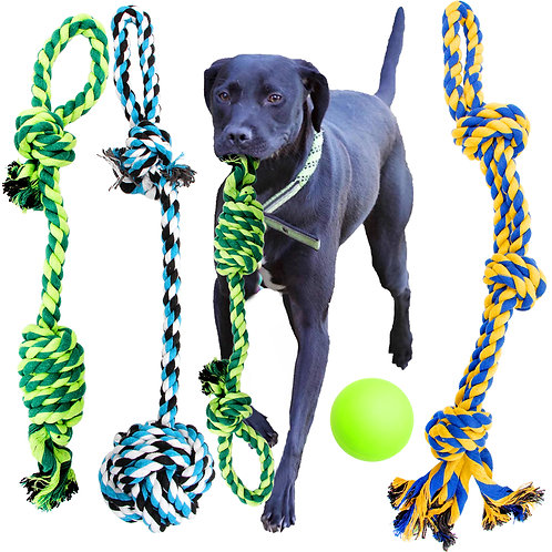 Dog Rope Toys - 4 Pack Large Size Dog Ropes. 3 Knots Rope, 2 Knots Rope