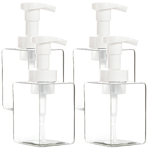Youngever 4 Pack 12oz Clear Plastic Square Pump Bottles