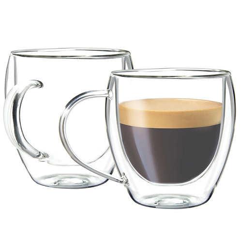 Youngever 2 Pack 5.5 oz Glass Espresso Mugs, Double Wall Thermo Insulated