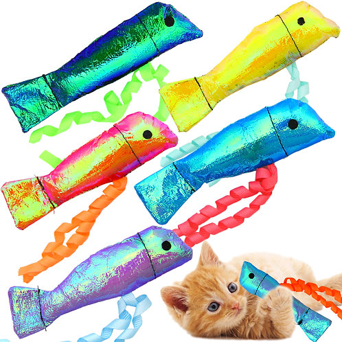 Youngever 15 Pack Cat Toys, Crinkle Catnip Fish for Cat Puppy, Kitty, Kitten
