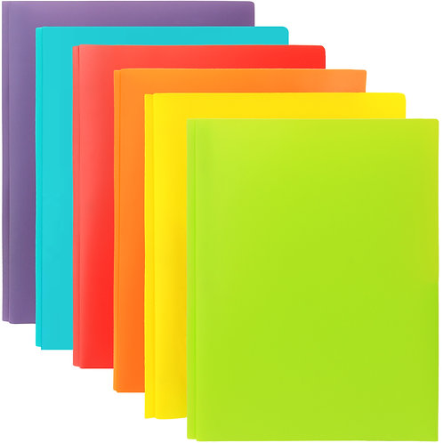 Youngever 12 Plastic Pocket Folders with Prongs, Metal Prongs Fastener