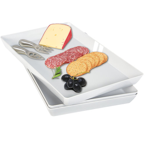 Youngever 3 Pack Plastic Serving Trays, Serving Platter for Parties(Grey Color)