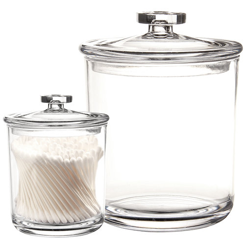 Youngever 60oz 15oz Premium Quality Clear Plastic Apothecary Jars Set of 2