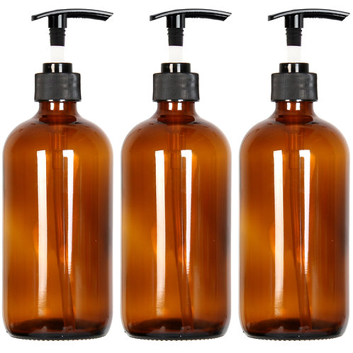 Youngever 3 Pack Empty Amber Glass Pump Bottles, 3 Pack 16 Ounce Pump Bottles
