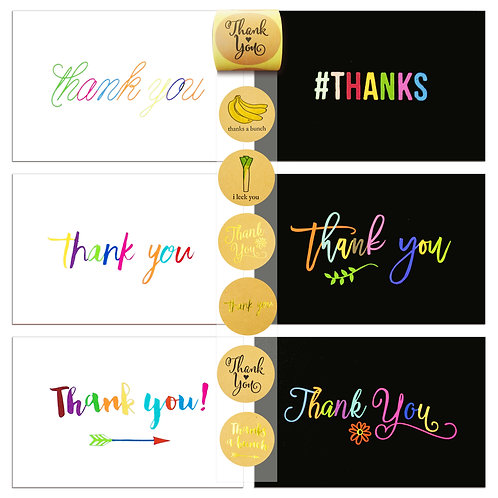 72 Thank You Cards Set and Sealer Sticker Assortment, Black and White