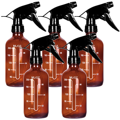 Youngever 5 Pack Empty Amber Glass Spray Bottles with Measurements, 8 Ounce