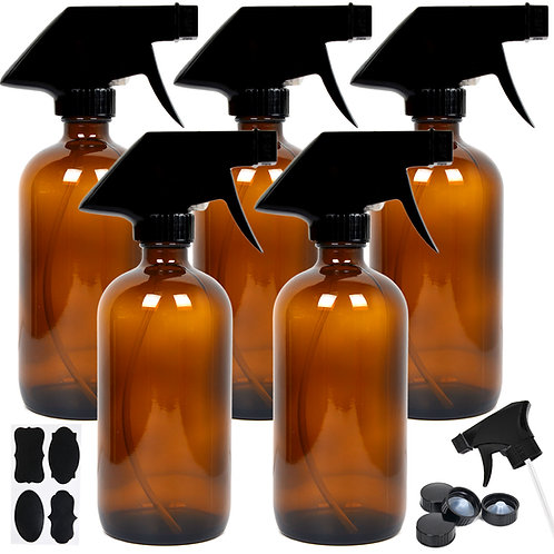 Youngever 5 Pack Empty Amber Glass Spray Bottles, 8 Ounce Refillable Container f