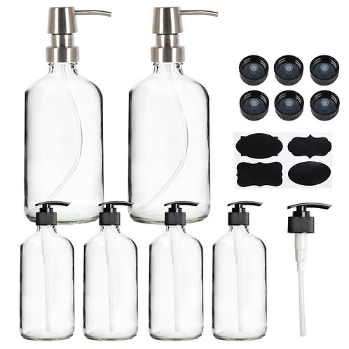 Youngever 6 Pack 16 oz and 8 oz Clear Glass Boston Round Bottles
