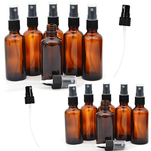 12 Pack 4oz and 2oz Empty Amber Glass Spray Bottles