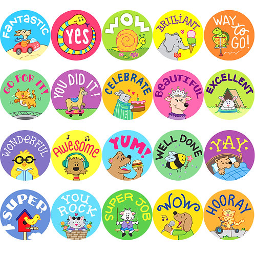 Youngever 2000 Pack Reward Stickers for Teachers, Animal Cartoon Motivational