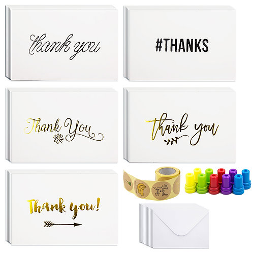 60 Thank You Cards with Envelopes, 120 pcs Thank You Sealer Stickers, 10 Decorat