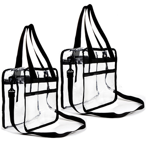 """2 Pack Clear Bag 12"""" X 6"""" X 12"""" Stadium Approved Clear tote bag"""