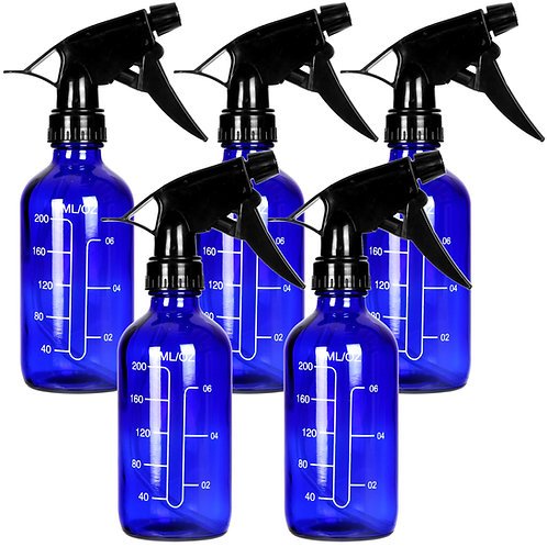 Youngever 5 Pack Empty Blue Glass Spray Bottles with Measurements,8 Ounce