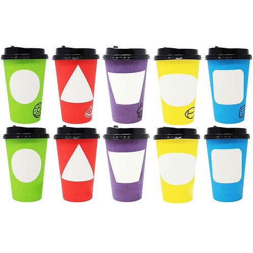 Youngever 70 Sets Hot Coffee Cups Durable Paper Cups with Travel Lids, 12 Ounce