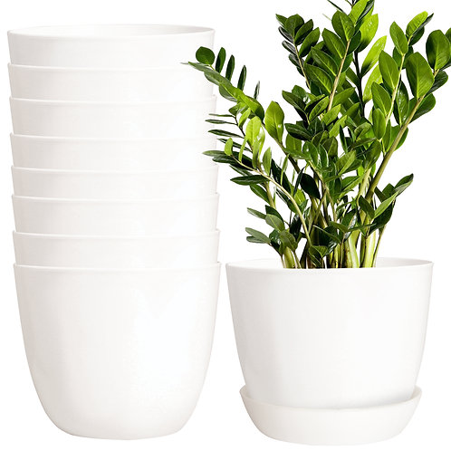 Youngever 8 Pack 5.5 Inch Plastic Planters with Saucers, Indoor Flower Plant Pot