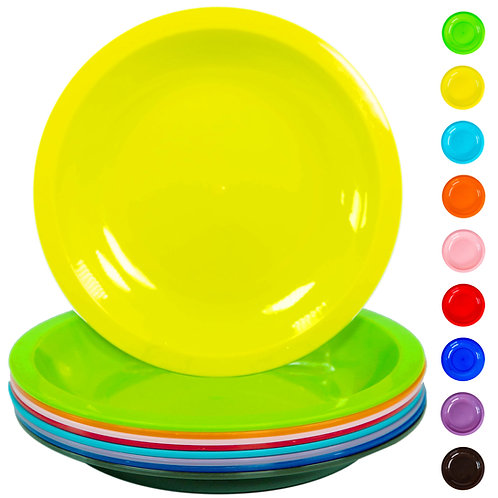 """Youngever 9 Pack 7.5"""" Plastic Plates Snack Plates"""