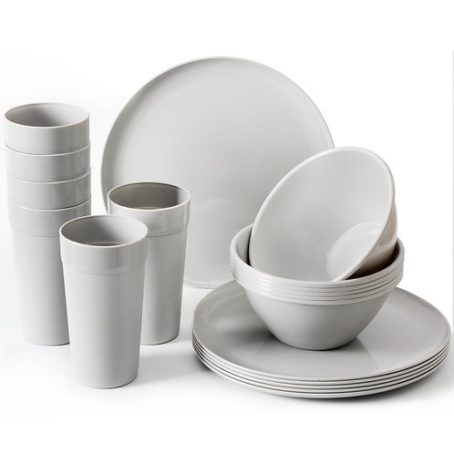 Youngever 18-Piece Grey Plastic Kitchen Dinnerware Set, Plates, Bowls, Cups
