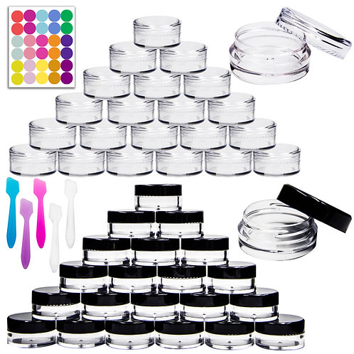 Youngever 140 Pcs 3 Gram Empty Plastic Cosmetic Samples Containers, Plastic Jars