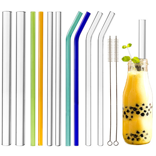 "Youngever Reusable Glass Straws Assortment, 9"" L x 14mm, 10mm, 8mm"