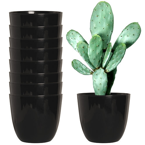 Youngever 8 Pack 5.5 Inch Plastic Planters Indoor Flower Plant Pots, Modern