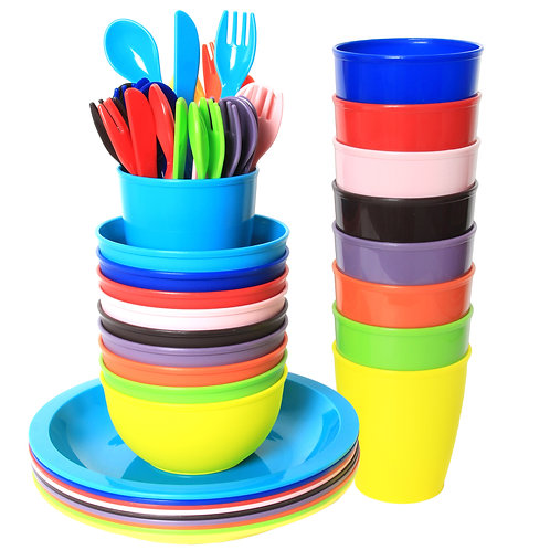 Youngever 54 pcs Plastic Toddler Dining and Utensil Set, BPA Free
