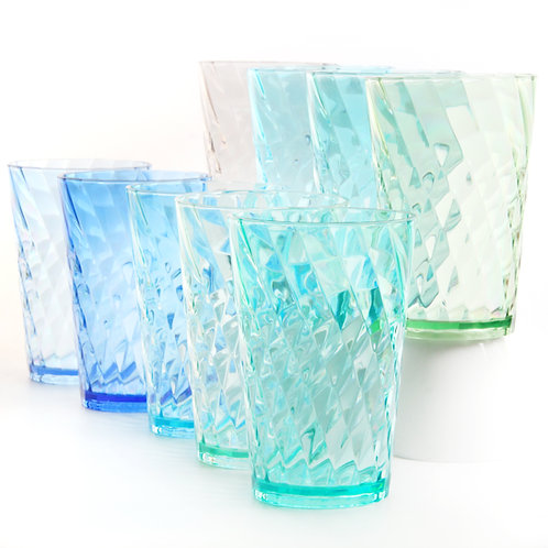 Youngever 9 Pack 20 Ounce Plastic Tumblers, Cafe Break-Resistant Drinking Glasse